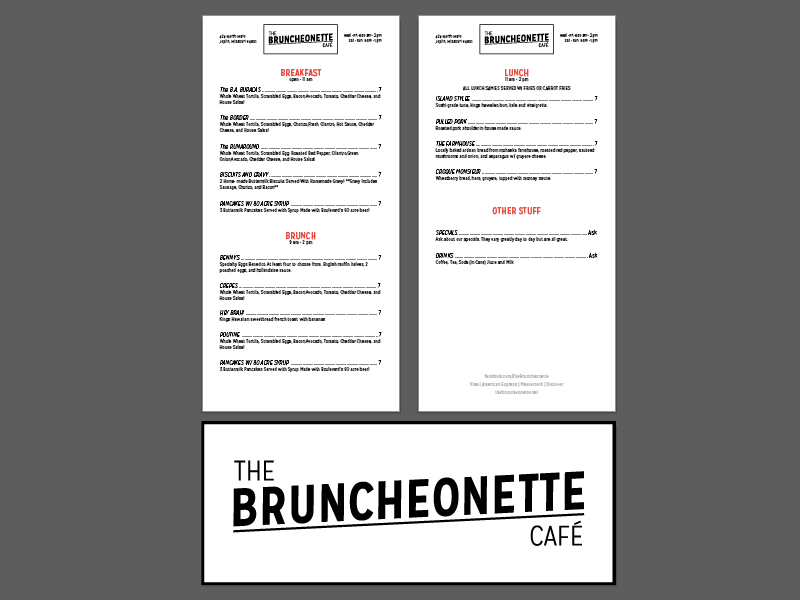 The Bruncheonette cafe rebrand menu