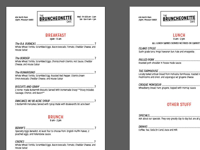 Bruncheonette menu