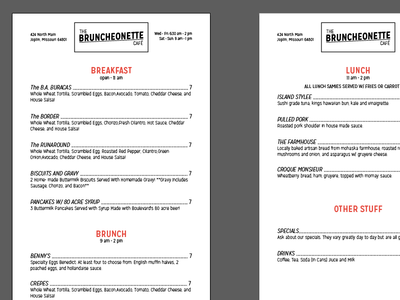 Bruncheonette menu