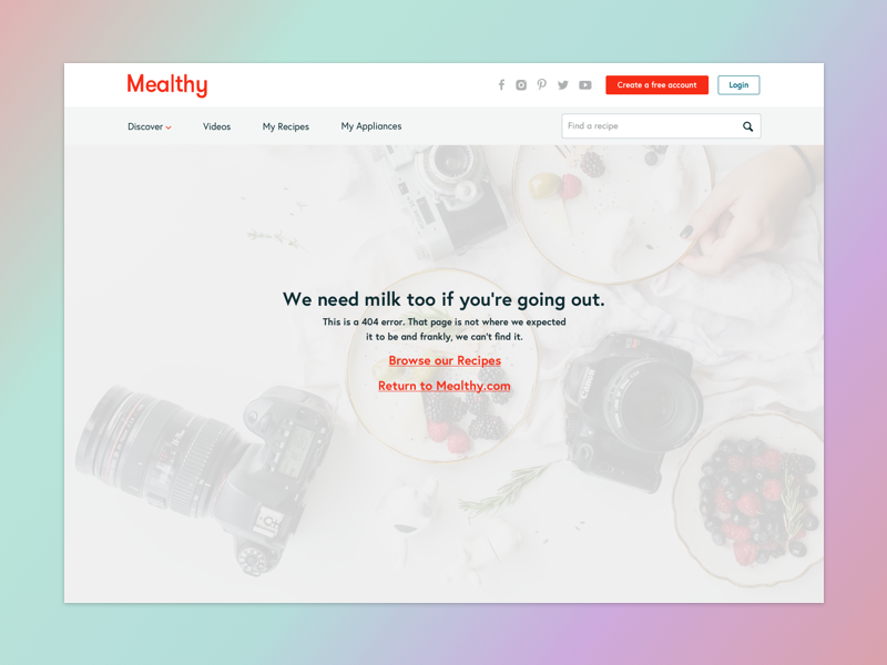 Mealthy 404 food health recipes design product dailyui8