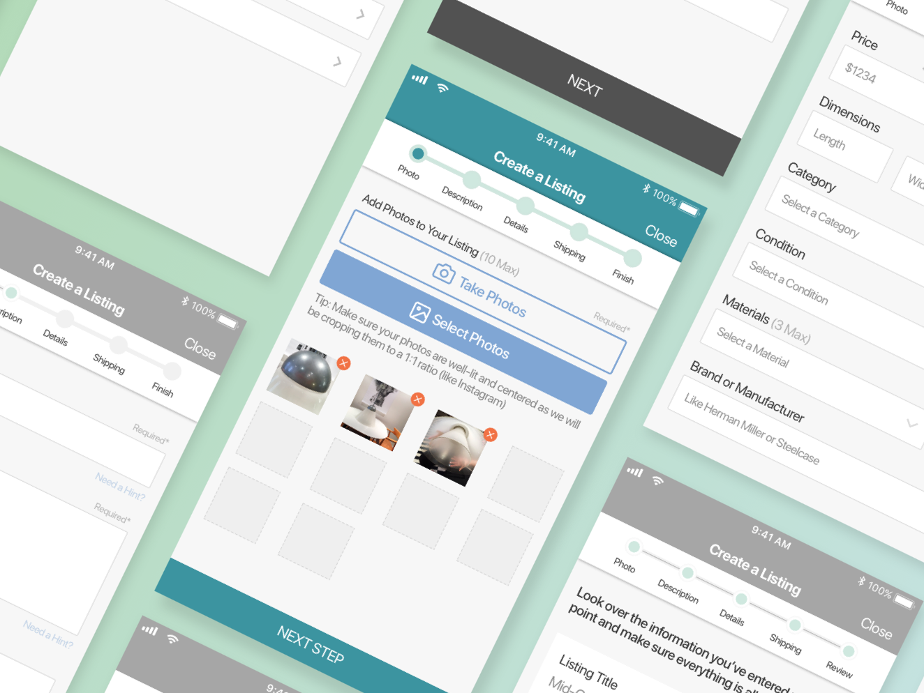 Apartment Therapy Marketplace Seller Experience Wireframes progress indicator concept photo uploader ios app markerplace product design ux ui wireframes apartment therapy