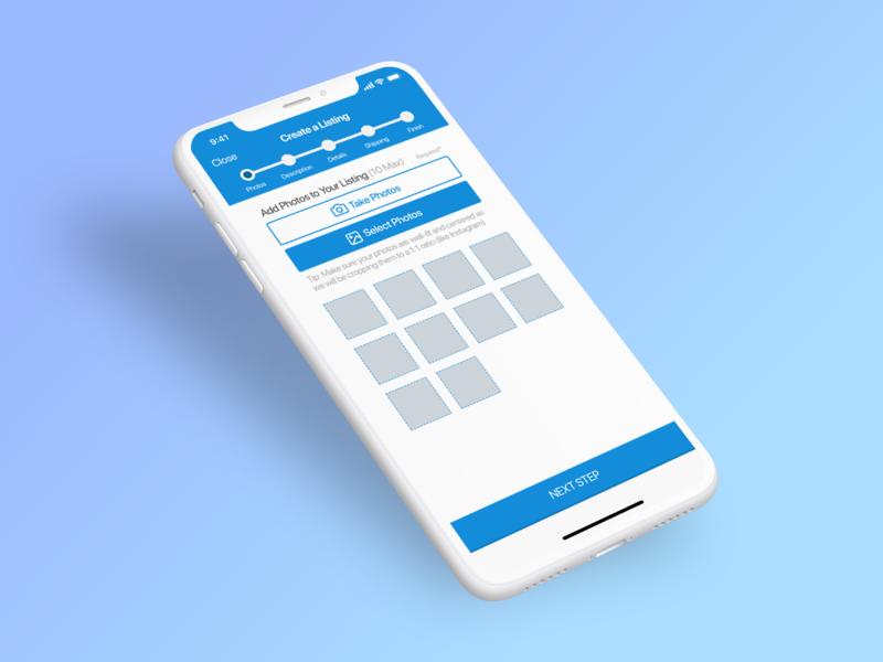 Marketplace Concept for iPhoneX iphone x photo upload sketch commerce marketplace product ux app ios ui design