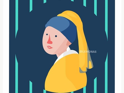 Girl with pearl earring (Cute Version) kawaii girl cute yellow vermeer art drawing illustration vector design character