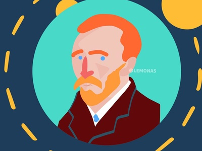 Vincent Van Gogh (Cute Version) character avatar geometric flat  design vincent van gogh cartoon colorful design vector abstract drawing illustration
