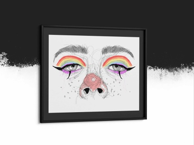 Pride Rainbow Eyes face paint character eyebrows rainbow pride lgbt eyes scribble abstract colorful illustration