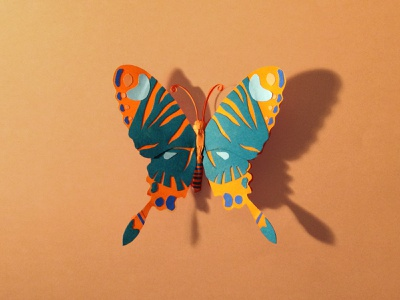 Paper butterfly paper butterfly blue orangebutterfly orange paperart paperillustration illustration