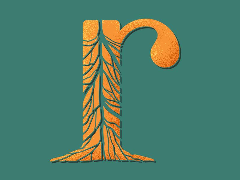 R orange roots vector type illustrator lettering 36 days of type type daily type challenge type art photoshop pattern geometric pattern design texture illustration typography 36daysoftype