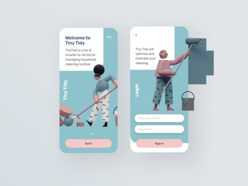 TinyTidy housecleaning app dailyui concept ui interfacedesign
