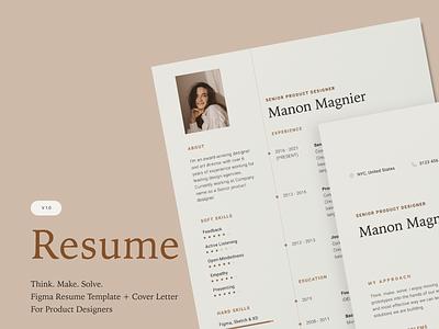 One-page resume & Cover letter designbranding concept minimal template cv resume