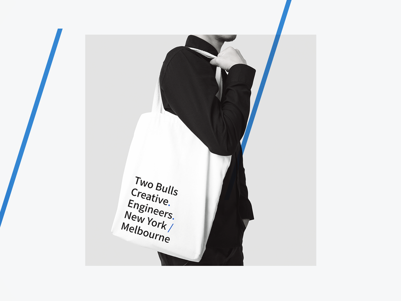 Two Bulls Tote totebag tote swag twobulls product design product branding logo illustration type clean design branding