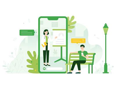 Classroom teaching based on cloud service park learning medical mobile phone medical education illustration digital health