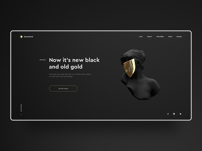 BlackGold. UI Design gradient light black and gold black  white trends 2019 minimal modern dark art ui design webdesign landing landing page website design dark gold black