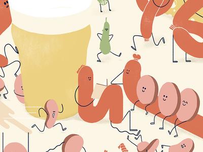 Sausages, Pickles, Cheese & Beer