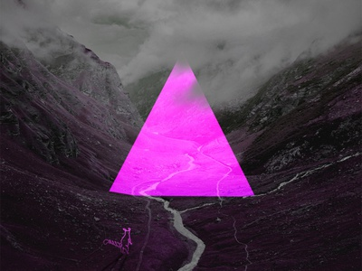 Cat In the Valley mystery illustration pink cyberpunk triangle cat