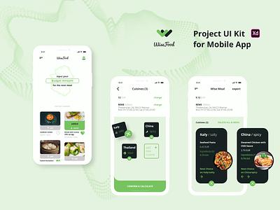 WiseFood - Project UI Kit FREE wise food free xd app design ui kit ui