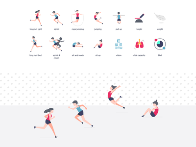 physical test icons test physical mini program illustration weight height vital vision jump rope jump sprint run teenager bmi icon sport