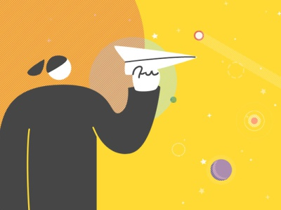 newsletter subscribe banner newsletter paperplane yellow planet universe illustration