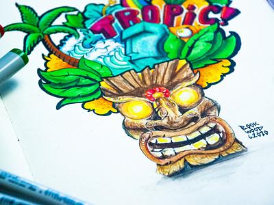 Tropical Doodle summer moleskine tropical tropic copicmarkers ink art design illustration