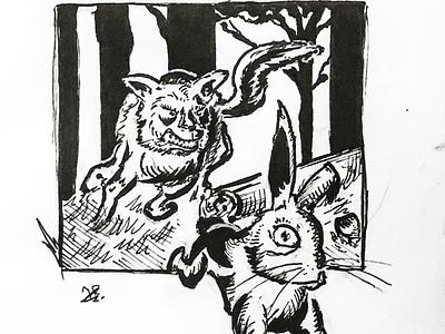 Inktober Day 16: Wild! forest nature wild rabbit fox illustration drawing ink inktober2019 inktober