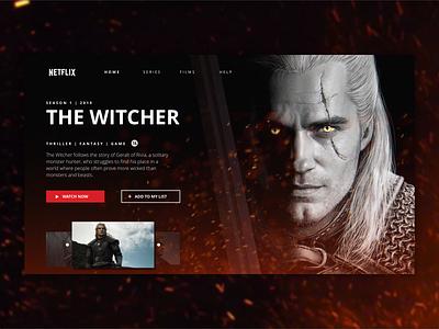 The Witcher Concept UI sketch design web concept visual web design dark clean thewitcher netflix ux ui