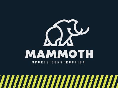 Mammoth Sports Construction outline logo line art branding yellow blue sports field field soccer football sports turf strong bold woolly turf tusks elephant construction sports mammoth
