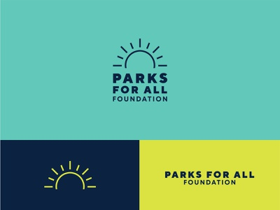 Parks For All Foundation icon turquoise yellow blue logo branding brand identity line art sports field parks and rec parks and recreation park sun outdoors foundation for all parks