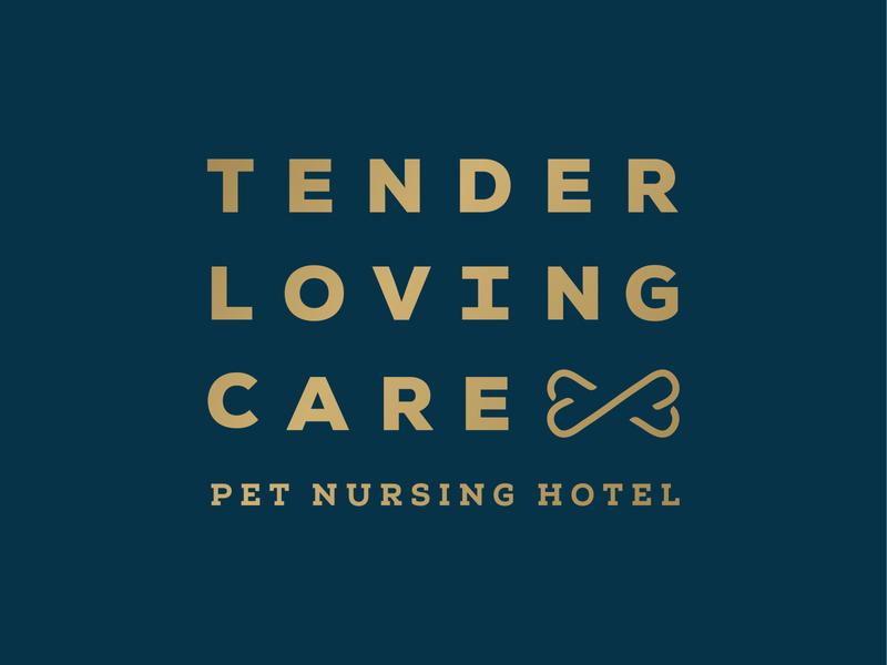 Tender Loving Care brand inviting blue gold simple bone heart elderly hospice veterinary vet animals hotel nursing pet care loving tender design logo
