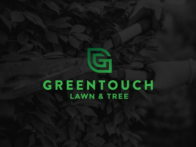 GreenTouch logo design wordmark branding design logo rebrand tree care lawn care plant leaf g line monoweight icon type gradient tree lawn touch