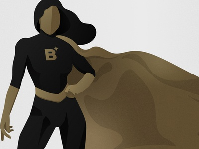 Superhero gradient golden flat illustration flat vector adobe illustrator branded texture agency superwoman woman cape superpower black gold b brand digital illustration