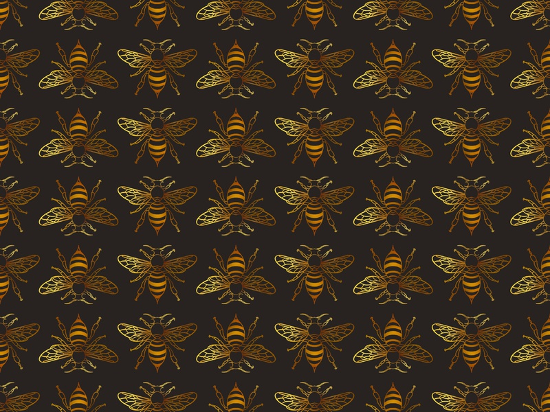 Bees procreate stripes wings pattern pollenate insect bug gradient bumble honey bee brown black gold yellow digital illustration