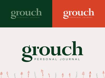 Grouch application serif typography wordmark logo mood grouchy fun bloom flowers orange green branding brand app journaling journal personal grouch