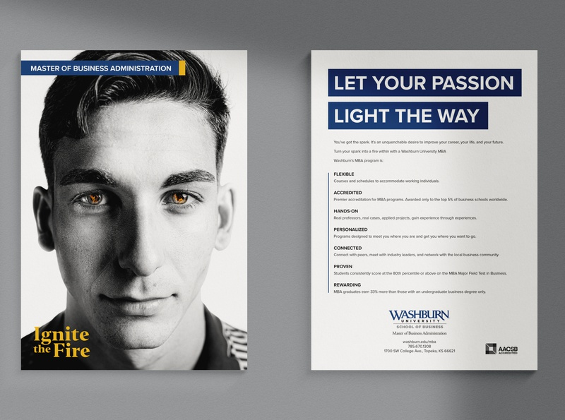 Ignite the Fire Campaign black and white portrait photography campaign print marketing billboard postcard card poster spark flame fire ignite kansas topeka university school