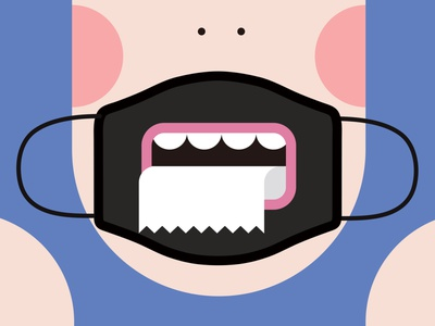 1 secure toilet paper teeth mouth face mask