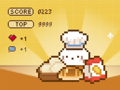 Welcome to Puppy's Bakery pixel video game retro bakery illustration