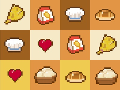 Retro Icons of A Bakery Game cheif bread pixel icon illustration