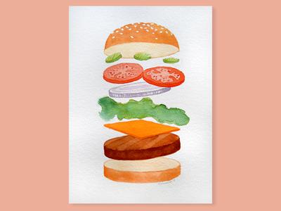 Deconstructed Burger - Watercolor
