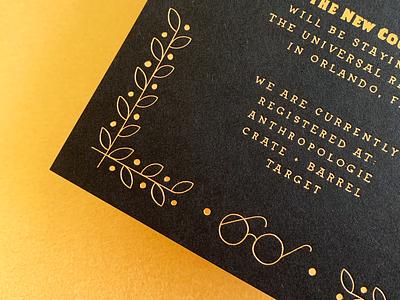 Wedding Suite Details harry potter hand lettering details card wedding suite gold foil letterpress