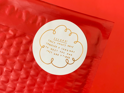 Gold Foil Sticker bubble mailer letterpress gold foil handwritten packaging sticker