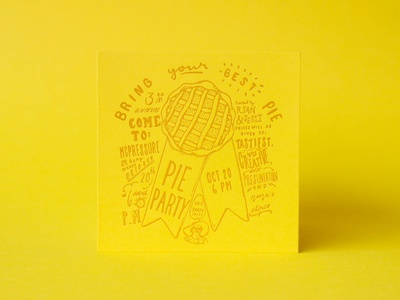 Pie Party Invitation print pie yellow invitation letterpress