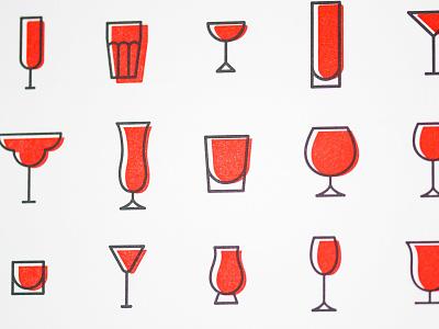 Cocktail Recipe Card Pattern letterpress