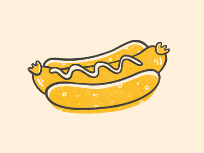 Hot Dog texture yellow black hot dog baseball illustrations illustration