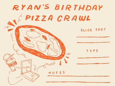 Ryan's Pizza Crawl stationery score card notepad illustration colored pencil riso pizza