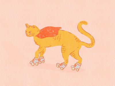 Cat on Roller Skates superhero cape rollerskating roller skates roller skate cats digital illustration procreate texture cat riso illustration