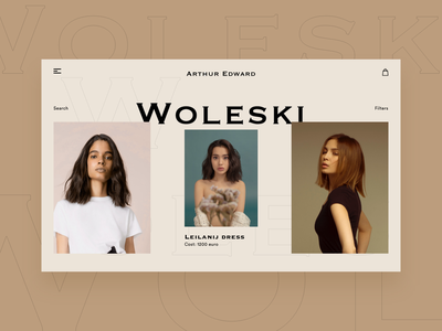 Minimal vintage Fashion Woleski website hipster hero minimal wordpress dress brown black clean ui website concept retro fashion vintage website