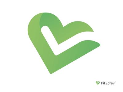 FitZdraví Fresh logotype - symbolism heart and done symbol