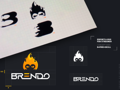 B+Fire+Skull Logo Twich Streaming project
