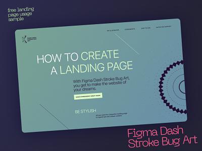 Free Landing page #3 for Figma Dash Stroke Bug Art landing figma free illustration flat branding design typography minimal clean