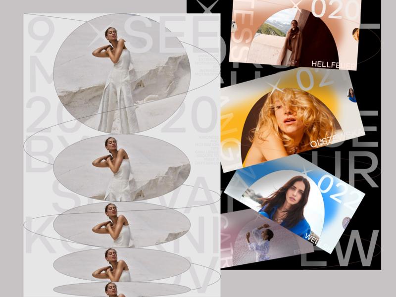 xSEE branding typography minimal photo fashion slide book design news interface