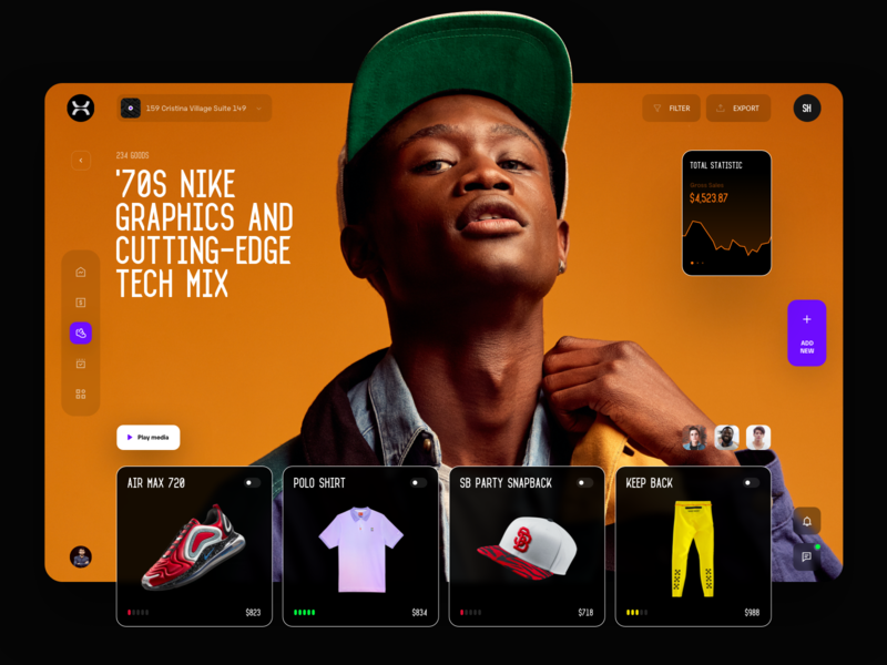 Collection dark shoping shopify product management analitycs ui typography photo fashion design web interface dashboard
