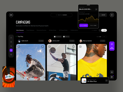 Campaigns sneakers analitycs dashboard video minimal typography slide book design news web interface